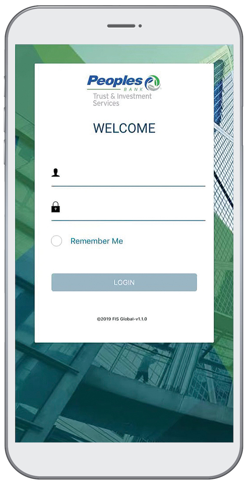 Retirement app sign in page on iphone